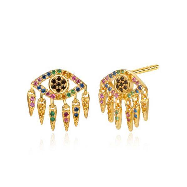 Pendientes de Plata dorada Mal de Ojo con colgantitos y Circonitas Multicolor