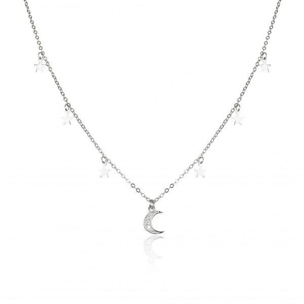 Gargantilla de Plata con colgante de Luna con Circonitas y Colgantes de Estrellas