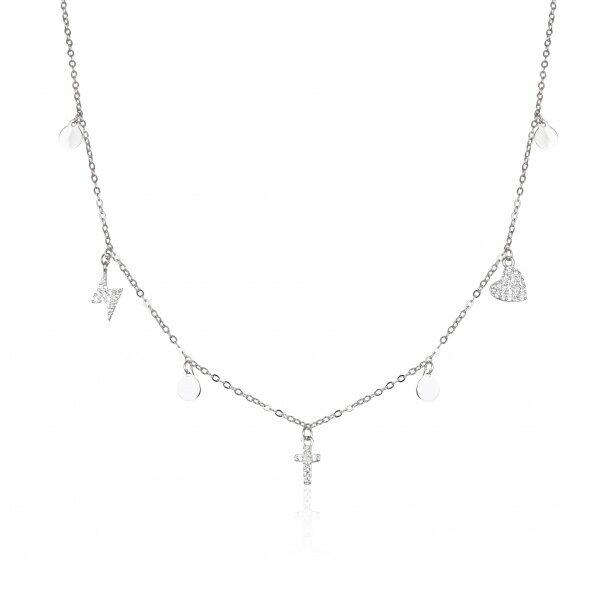 Gargantilla de Plata con Colgantes y Medallitas